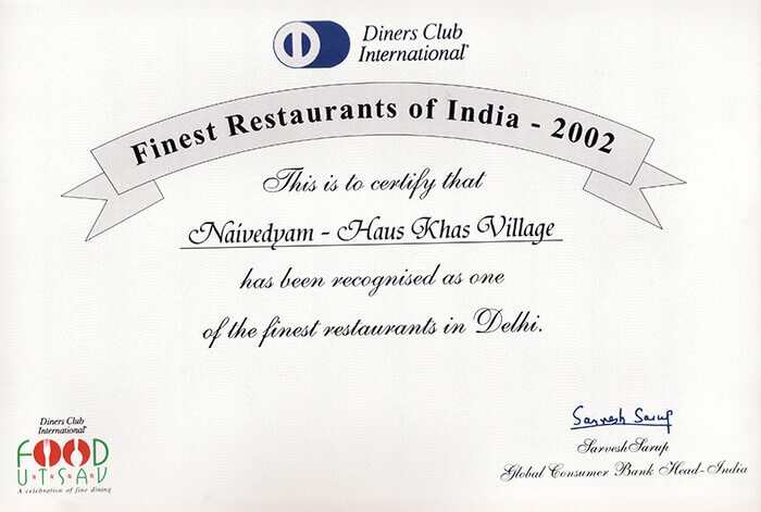 Finest Restaurants of India - Diners Club International 2002